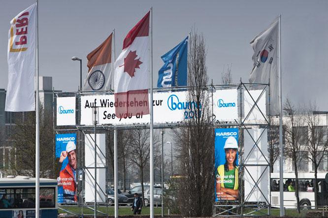 Fahnen, Banner, Flächen bedruckt - Beispiel Messe München